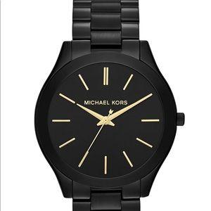 Michael Kors Slim Runway Black-Tone Watch. MK3221